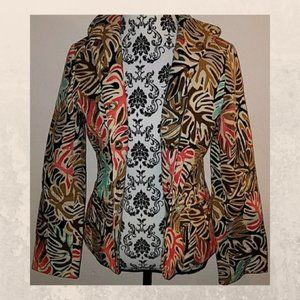 Colorful Fall leaf pattern Jacket or Blazer size 8